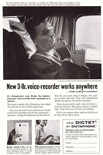 1957 Dictet, Dictaphone: 3 lb Voice Recorder, Dictaphone Print Ad