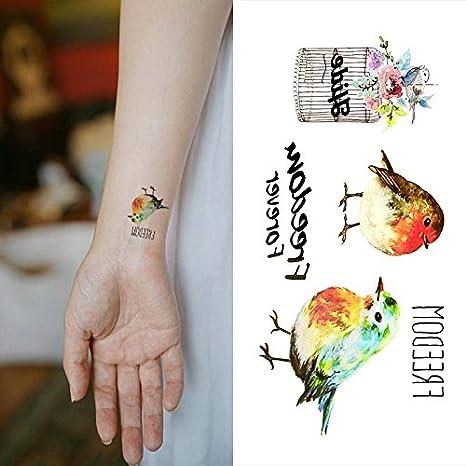 Oottati Pequeño Lindo Tatuaje Temporal Libertad De La Jaula De ...