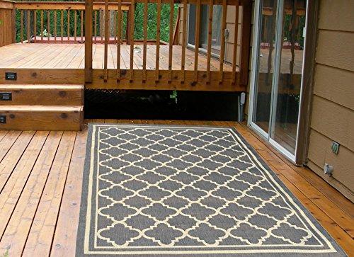 Cheap  Ottomanson Jardin Collection Natural Moroccan Trellis Design Indoor/Outdoor Jute Backing Area Rv..