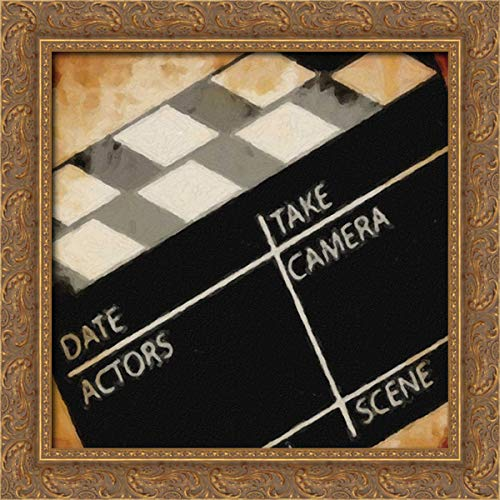 Lights Camera Action_Clapboard 20x20 Gold Ornate Wood Framed Canvas Art by Greene, Taylor ()