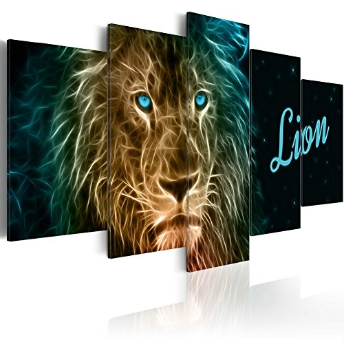 (Konda Art 5 Panel Wall Art Painting Lion Pictures Prints On Canvas Animal Artwork Decor for Home Modern Decoration Print Framed and Ready to Hang (Gold Lion, 40