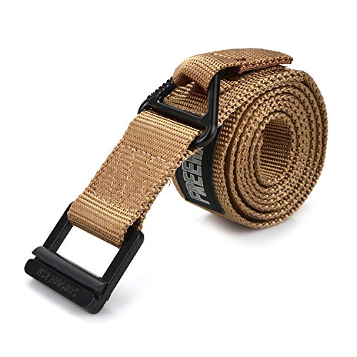 Survival Tactical Belt, Freehawk Emergency Fire Rescue Rigger Waist Belt Military CQB Belt (Khaki)