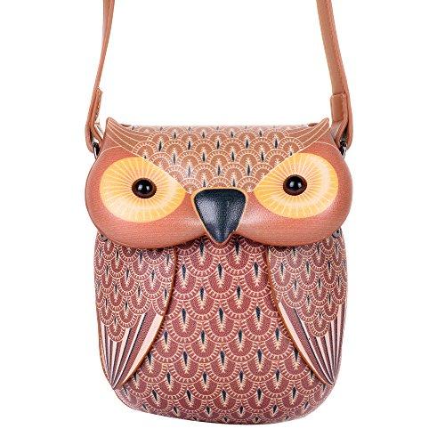 QZUnique Cute Owl Cartoon PU Leather Handbag Casual Satchel School Purse