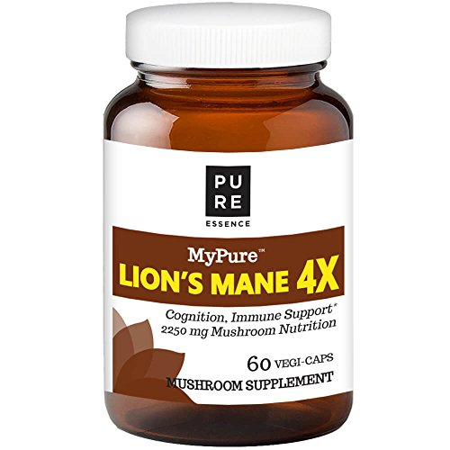 MyPure Lion s Mane 4X Mushroom Extract Supplement by Pure Essence – 100 from Fruiting Bodies to Support The Immune System, Combat Stress, Build Energy- 60 Caps