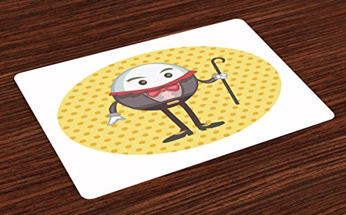 Lunarable Alice in Wonderland Place Mats Set of 4, Humpty Dumpty Egg on Dotted Background Cartoon Style Alice, Washable Fabric Placemats for Dining Room Kitchen Table Decor, Orange Brown Yellow ()