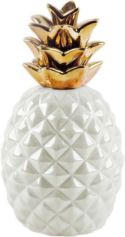 """Home Essentials, 70898, Apropos, 9""""H Pearl Iridescent Gold Crown Pineapple"""