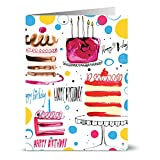 24 Birthday Note Cards - Celebratory Cakes - Blank Cards - Gray Envelopes Included