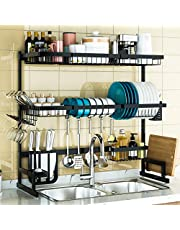 """3 Tier Over Sink Dish Drying Rack, Adjustable(24""""-40"""") Exquisite Dish Drainer for Kitchen Storage Countertop Organization, Stainless Steel Space Save Shelf (24≤Sink Size≤40inch, Black)"""