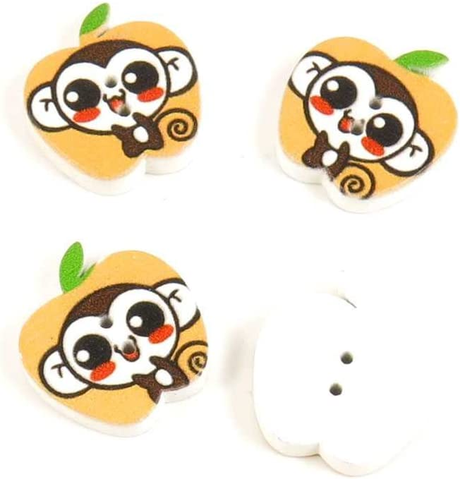 Price per 50 Pieces Sewing Sew On Buttons AGTD3 Little Monkey Apple Shape for clothes in bulk wood Fasteners Knopfe