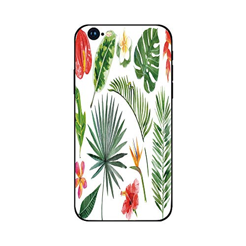 Phone Case Compatible with iphone6 Plus iphone6s Plus mobilephoneprotectingshell Brandnew Tempered Glass Backplane,Plant,Diverse Collection of Leaves and Flowers From Tropical Lands Heliconia Philo -