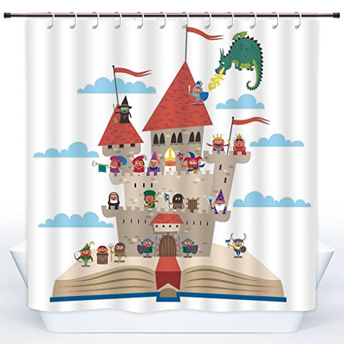 SCOCICI Fun Shower Curtain,Kids,Fairy Tale Story Book Castle King Queen Princess Dragon Witch Knight Wizard Vikings Theme Print,Polyester Shower Curtains Bathroom Decor Set with - Book Tale Guest Theme Fairy