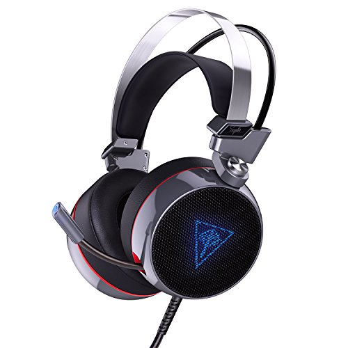 AUKEY PC Gaming Headset, USB Stereo Over-Ear Headphones Supports Virtual 7.1-Channel Surround Sound with Retractable Microphone, Bass Boost Button, LED Backlit for PC & Mac