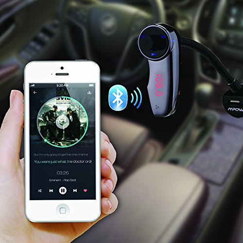 UPC 632423230445, FM Transmitter, New Version, Mpow Streambot Flex Wireless Car Stereo Bluetooth FM Transmitter Radio Adapter Handsfree Car Kit with Hands-Free Calling, Music Control for iPhone 6 Plus, 6 5S 5C 5 4S; Samsung Galaxy S6 Edge, S6 S5 S4 S3; iPod, iPod Touch and More