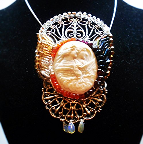 Victorian Hand Carved Eos Night & Day, Rare, Large Shell Cameo of Goddess in Art Nouveau Beaded Night Day Setting Brooch/ Pendant ()