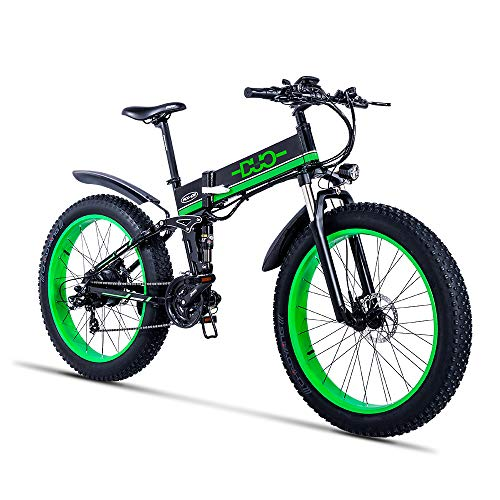 GUNAI 1000W Electric Mountain Bike,26 inch Fat Tire Snow Bike with 48V 12Ah Removable Lithium Battery,Shimano 21 Speed Gear and LED Display