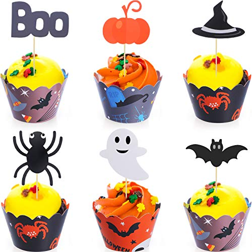 BBTO 48 Pieces Halloween Cupcake Toppers Wrappers Halloween Cake Picks Cupcake Liners for Halloween Party Cake Decoration