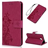 Mavis's Diary OnePlus 3 Case / OnePlus 3T Case - Retro PU Leather Case Wallet Flip Cover Anti-slip Stand Function Magnetic Closure ID / Card Slots Butterfly Vines Embossed Bumper Protective Case with Wrist Strap - Deep Pink