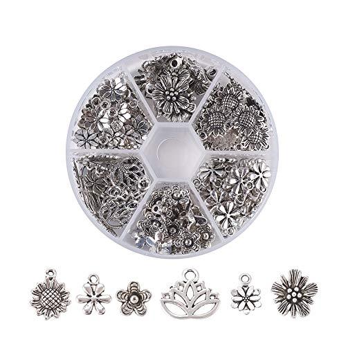 PH PandaHall 1 Box (About 135pcs) 6 Flower Style Antique Silver Tibetan Alloy Pendants Charms for DIY Jewelry Making Bracelet Necklace (Sunflower, Lotus Flower) ()