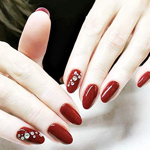 Aegenacess 24Pcs False Nails Short Oval Fake Design Red Shiny Crystal Press On Gel Nail Acrylic Artificial Manicure Tips French With Double Sided Stickers for Women and Girls -