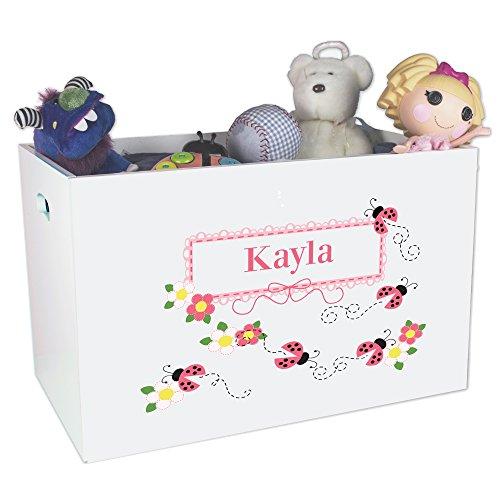 Personalized Ladybugs Childrens Nursery White Open Toy Box by MyBambino