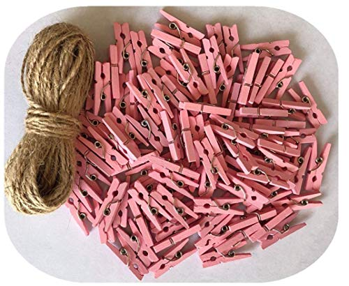 DurReus Miniature Clothes Pins for Crafts Christmas Decor Ornaments Tiny Clips with Jute Twine Pink Pack 100