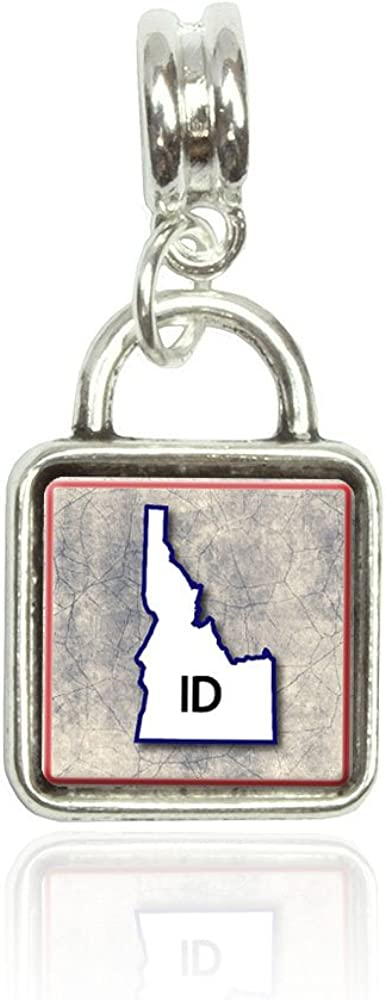 Idaho ID State Outline on Faded Blue Euro European Italian Style Bracelet Bead Sqr Charm