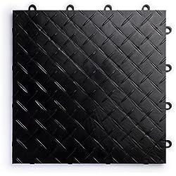 RaceDeck Diamond Plate Design, Durable Interlocking Modular Garage Flooring Tile (48 Pack), Black