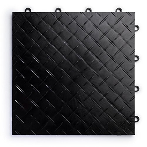 RaceDeck Diamond Plate Design, Durable Interlocking Modular Garage Flooring Tile (12 Pack), Black