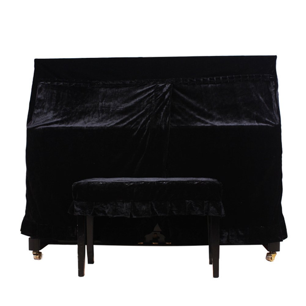 Completa para Piano + taburete de único cubre Pleuche Decorado con Macrame para Universal Vertical vertical 118–131Piano (hzc15), negro HANSHI