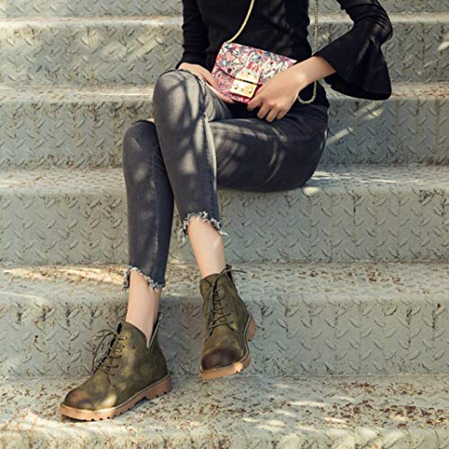 Lace DAYSEVENTH Round Trim Casual Shoes Leather up Low Flat Toe Ankle Green Martin Ankle Boots Flat Ladies Army qpqRBwF