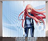 Ambesonne Anime Curtains Decor, Futuristic Manga Girl Science Fiction Doodle Effect Japanese Style Digital Art Print, Living Room Bedroom Window Drapes 2 Panel Set, 108 W X 90 L Inches, Light Blue