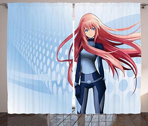 Ambesonne Anime Curtains Decor, Futuristic Manga Girl Science Fiction Doodle Effect Japanese Style Digital Art Print, Living Room Bedroom Window Drapes 2 Panel Set, 108 W X 84 L inches, Light Blue - Futuristic Girl