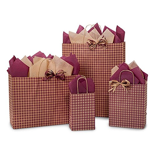 Burgundy Gingham Paper Shopping Bags - Assortment of 4 sizes - 125 Pack by NW