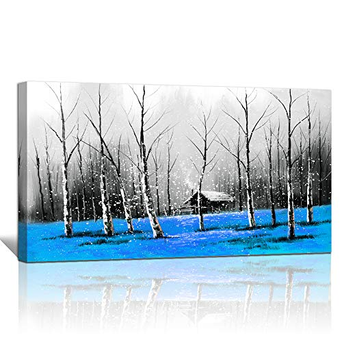 "canvas wall art for living room bathroom Wall Decor Black and white landscape woods Blue grass painting to Hang Home Decorations for office bedroom kitchen Works canvas Prints pictures 24"" x 48""inch"