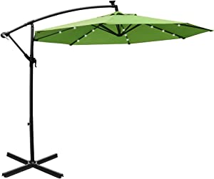 Mefo garden 10ft Solar Patio Outdoor Umbrella Offset Cantilever Hanging Umbrella 360 Degree Rotation with 24 LED Lights and Heavy Duty Steel Cross Base (Green)