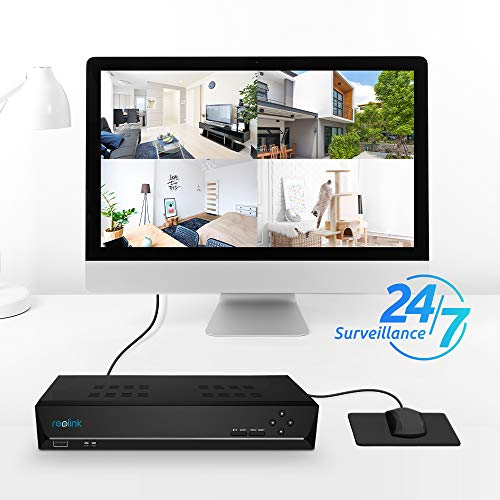 Reolink 4K PoE NVR 8 Channel Pre-installed 2TB Hard Drive 4K/5MP/4MP/1080P HD 24/7 Surveillance Recording Home Security Camera System Video Recorder RLN8-410
