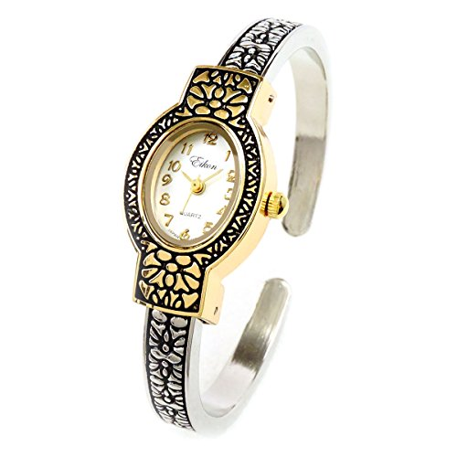 2Tone Metal Western Style Decorated Oval Face Women's Bangle Cuff (Ladies Silver Western Style Watch)