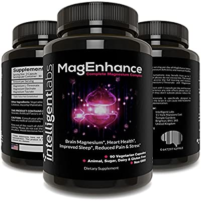 MagEnhance Best Magnesium Supplement, Magnesium-L-Threonate Complex, With Magnesium Glycinate and Taurate | Brain, Heart, Sleep, Memory and Fibromyalgia, 100% Money Back Guarantee! Vitamin Magnesium.