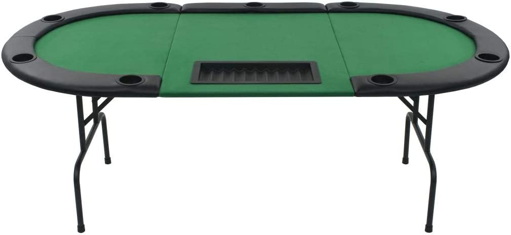 9-Player Folding Poker Table 3 Fold Oval Green Playing Casino Card Game Desk UK