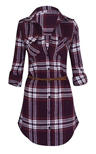 Plaid Belted Shirt Dresses - 8