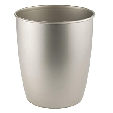mDesign Round Metal Small Trash Can Wastebasket, Garbage Container Bin for Bathrooms, Powder Rooms, Kitchens, Home Offices - Durable Steel - Satin
