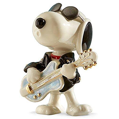 Lenox Peanuts Rockin Elvis Snoopy Figurine Rock Star Leather Jacket - Sunglasses Lenox