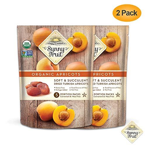ORGANIC Turkish Dried Apricots - Sunny Fruit - (2 Bags) - (5) 1.76oz Portion Packs per Bag   Purely Apricots - NO Added Sugars, Sulfurs or Preservatives   NON-GMO, VEGAN, HALAL & KOSHER