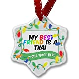 Personalized Name Christmas Ornament, My best Friend a Thai Cat from Thailand NEONBLOND