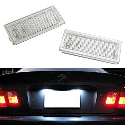 iJDMTOY OEM-Fit 3W Full LED License Plate Light Kit For 1998-03 BMW E46 3 Series 323i 325i 328i 330i Sedan Pre-LCI, Powered by 18-SMD Xenon White LED & Can-bus Error Free (Bus License Plate)