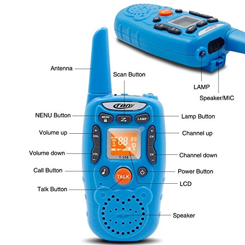 Eoncore T358 Walkie Talkies for Kids Two Ways Radio Toy Long Range 22 Channels 10 Call Tone Build-in Flashlight Blue by Eoncore (Image #3)