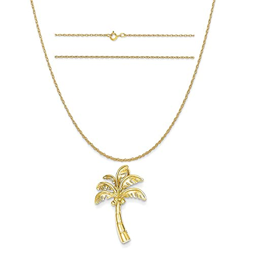 K/&C 14k Yellow Gold Christmas Tree Pendant on a 14K Yellow Gold Carded Rope Chain Necklace