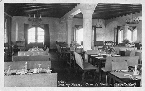 Real Photo Postcard Dining Room at Casa De Mañana in La Jolla, - La In Shops Jolla
