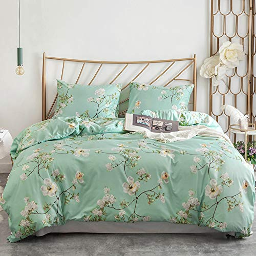Argstar 3 Pcs Teal Duvet Covers Set Queen Size, Botanical White Apricot Flower Bedding Sets, Green Leaves Comforter Cover, Soft Lightweight Microfiber, 1 Duvet Cover and 2 Pillow Shams (Cover Duvet Boy Green)