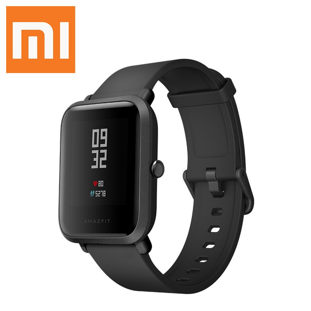 Amazfit Xiaomi Mi Bip Watch (Wrist (6.5-9″) Black) Huami Smart Bluetooth band with Heart Rate Monitor Pedometer Activity and Sleep Monitor Fitness Tracker GPS IP68 Waterproof